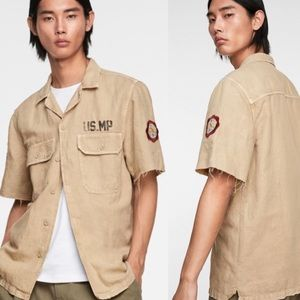 Zara | Tan Rustic Military Shirt With Patches